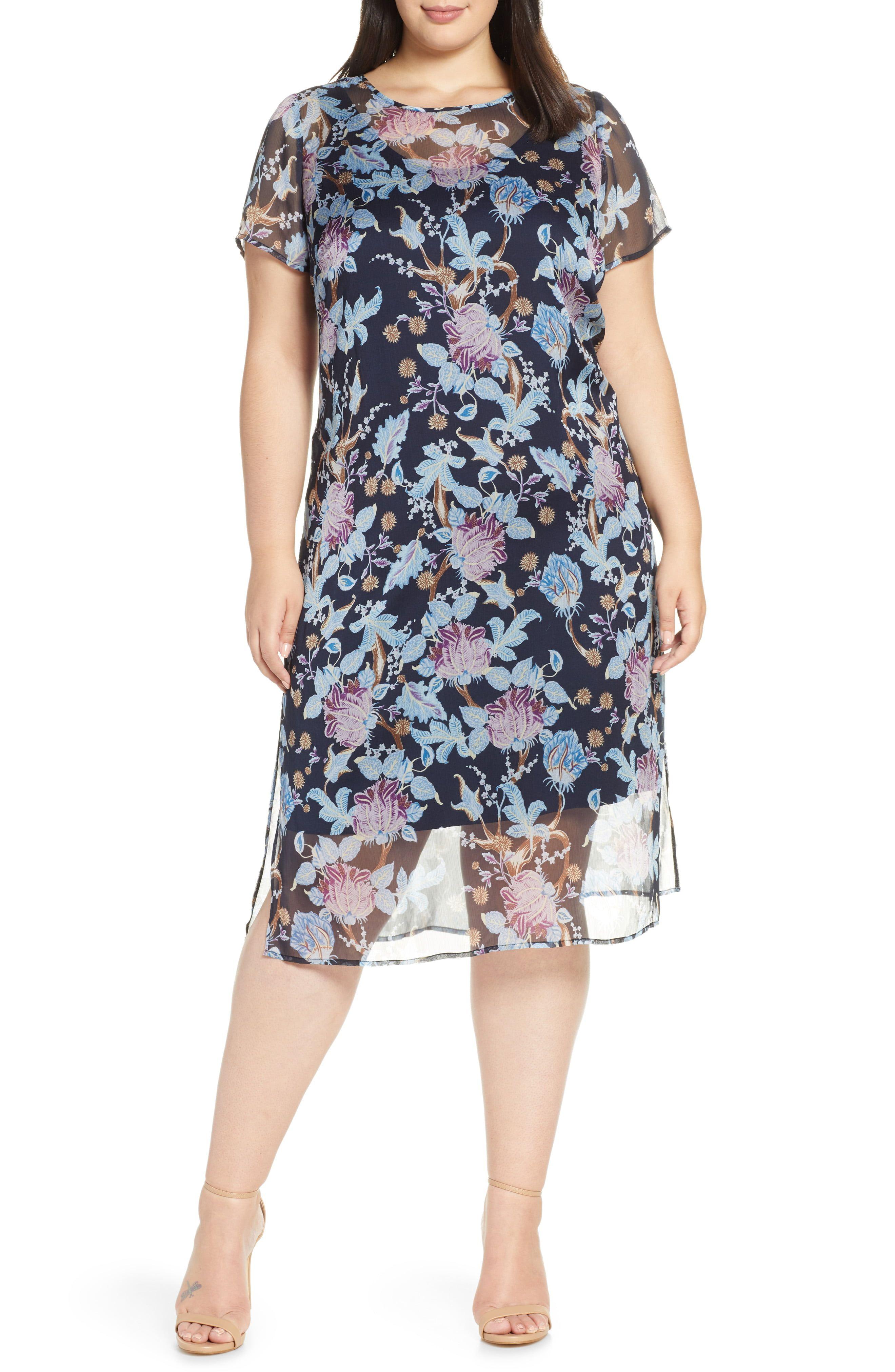 6ed1e17748c5 Plus Size Women's Vince Camuto Poetic Blooms Overlay Midi Dress, Size 1X -  Blue