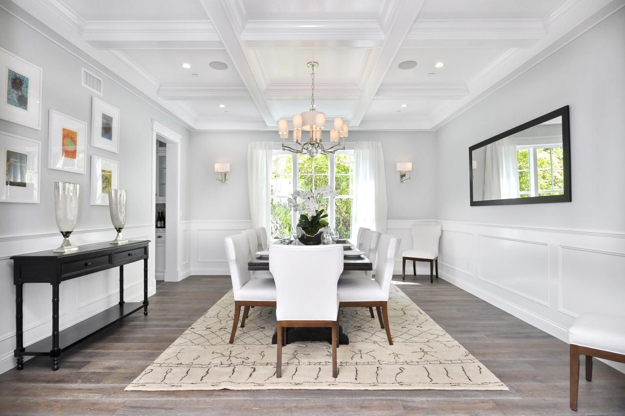 Tour A Cape Cod Estate In Encino Calif Coffered Ceilings Custom Luxurious Dining Room Decorating Design