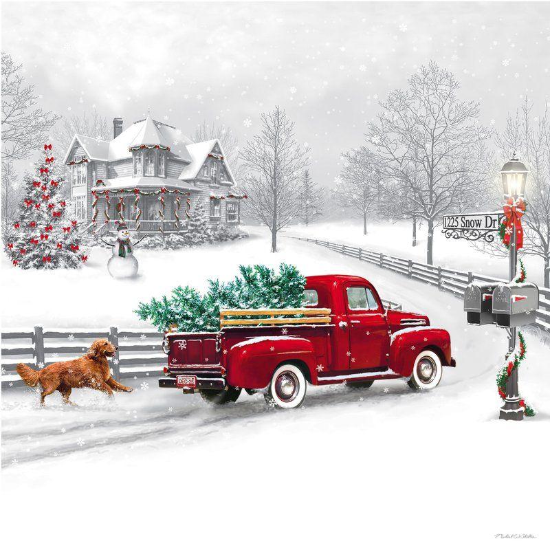 Winter Truck Led Canvas Wall Decor Christmas Red Truck Christmas Truck Christmas Scenes