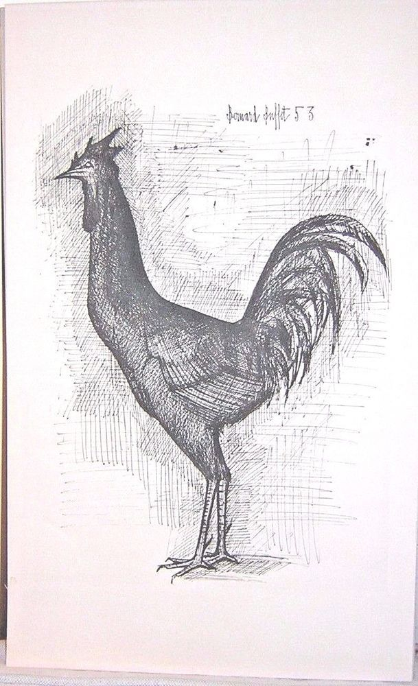 Miraculous Bernard Buffet Rooster The Cock Print Signed 1953 French Home Interior And Landscaping Palasignezvosmurscom