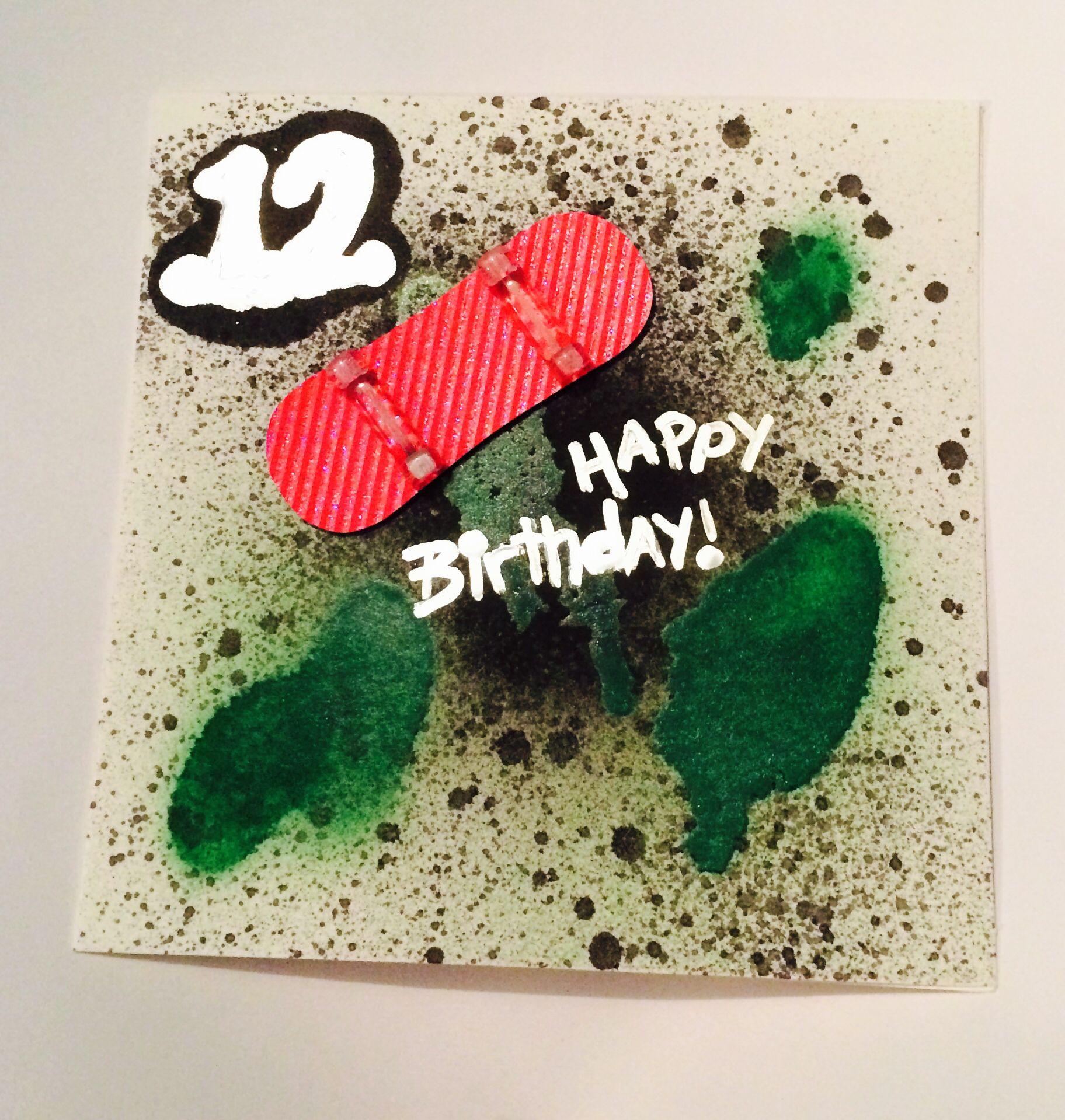 Skate Board Graffiti 12 Year Old Boys Birthday Card Birthday Cards For Boys Birthday Cards Cards