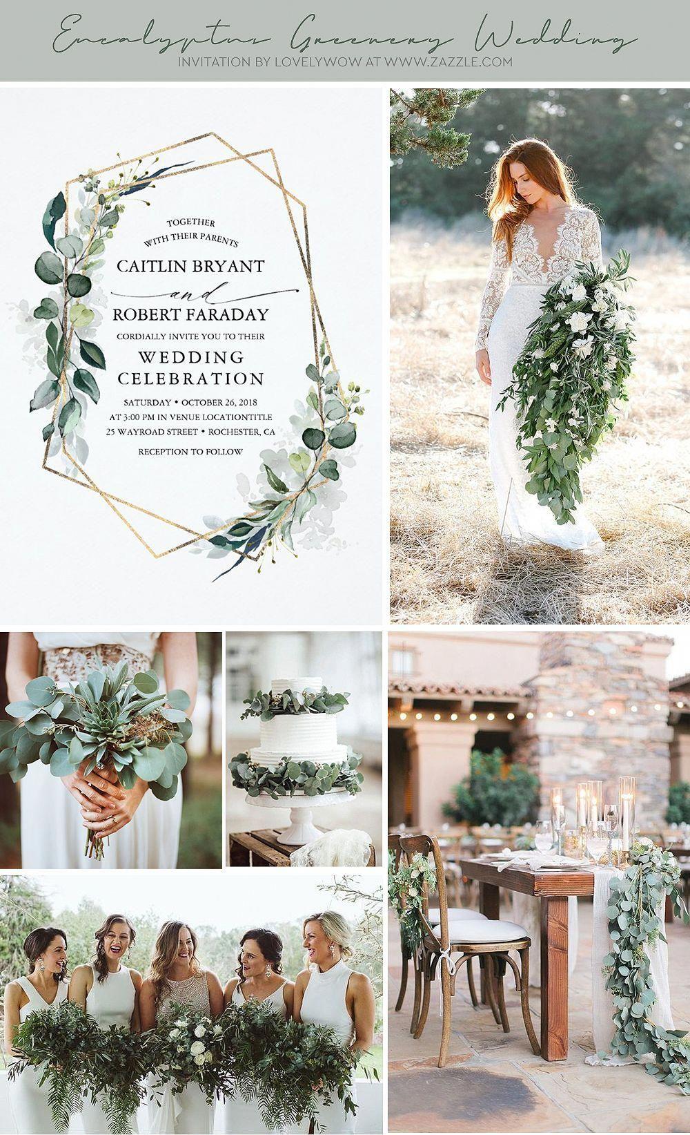 Eucalyptus Greenery Geometric Modern Wedding Invitation | Zazzle.com