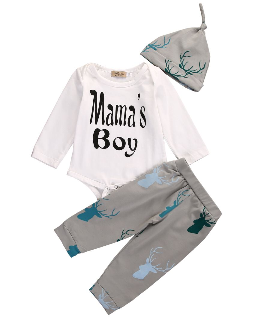 Mother & Kids Boys' Baby Clothing 3pcs Newborn Toddler Baby Boys Long Sleeve Tops Romper Camo Long Pants Outfits Set Clothes 0-18m