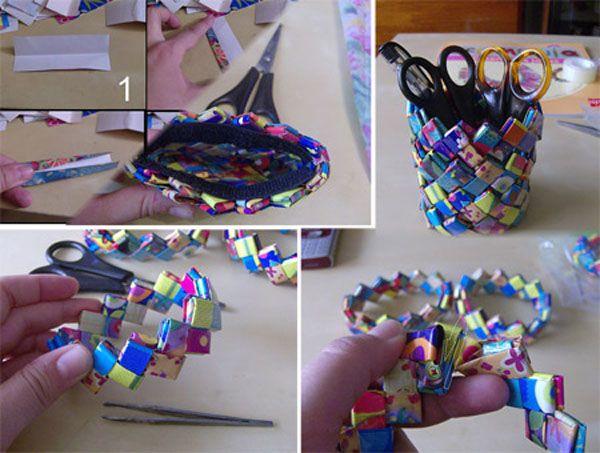 Manualidades creativas reciclando papel newspaper craft - Imagenes de manualidades ...