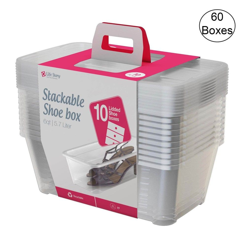 Life Story 5 7 Liter Clear Shoe Closet Storage Box Stacking Container 60 Boxes Shoe Storage Containers Shoe Containers Shoe Storage