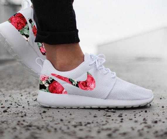 aa26049bc5ebf Nike Roshe Run Womens White with Custom Black Pink Rose Floral Print ...