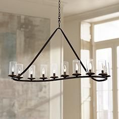 Heritage  Wide Bronze And Glass Chandelier Stephentown - Bronze dining room light