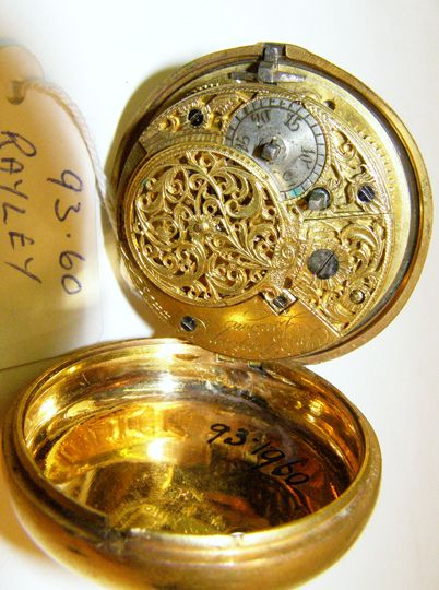Pocket watch with gilt Arabic numbers and a worn, white enamel face. Produced c1830. H1960.93, view 3      Some really SWAG pocket watches I found http://www.shop.com/sophjazzmedia/~~pocket+watches-g5-t1-k30-internalsearch+260.xhtml