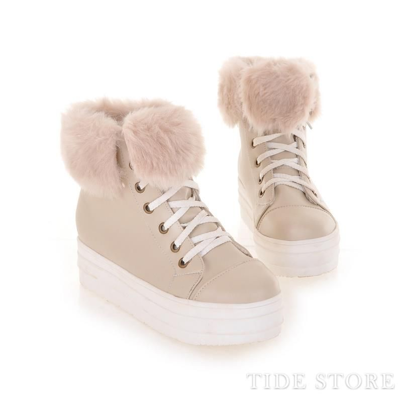 Unique Beige Round Toe PU Platform Heel Fur Decorated Short Boots