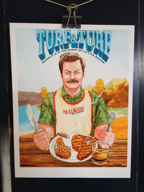 A Very Swanson Christmas Gift #4 - Turf & Turf Ron Swanson Print ...
