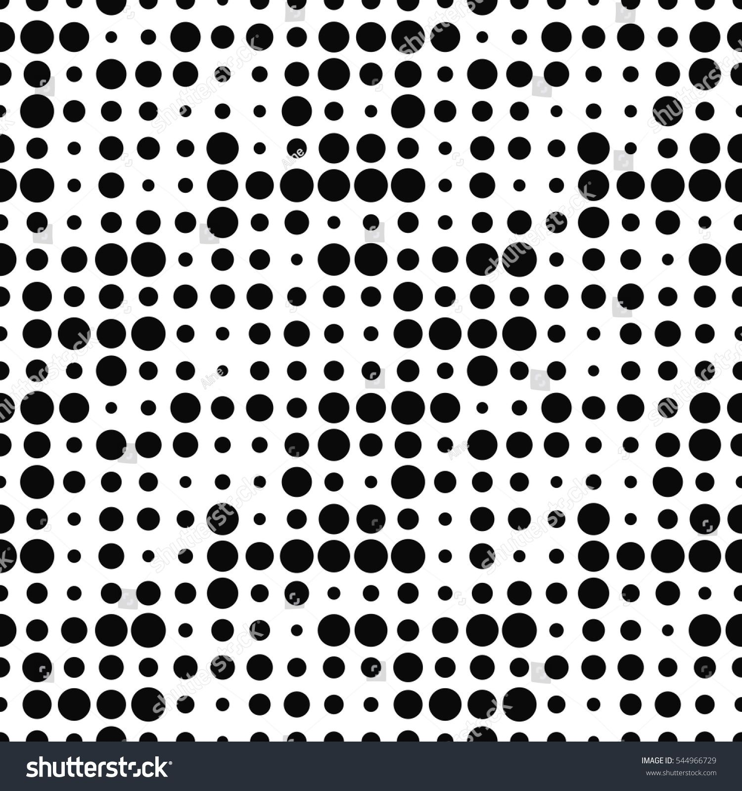 Black And White Halftone Seamless Pattern With Circles Dotted