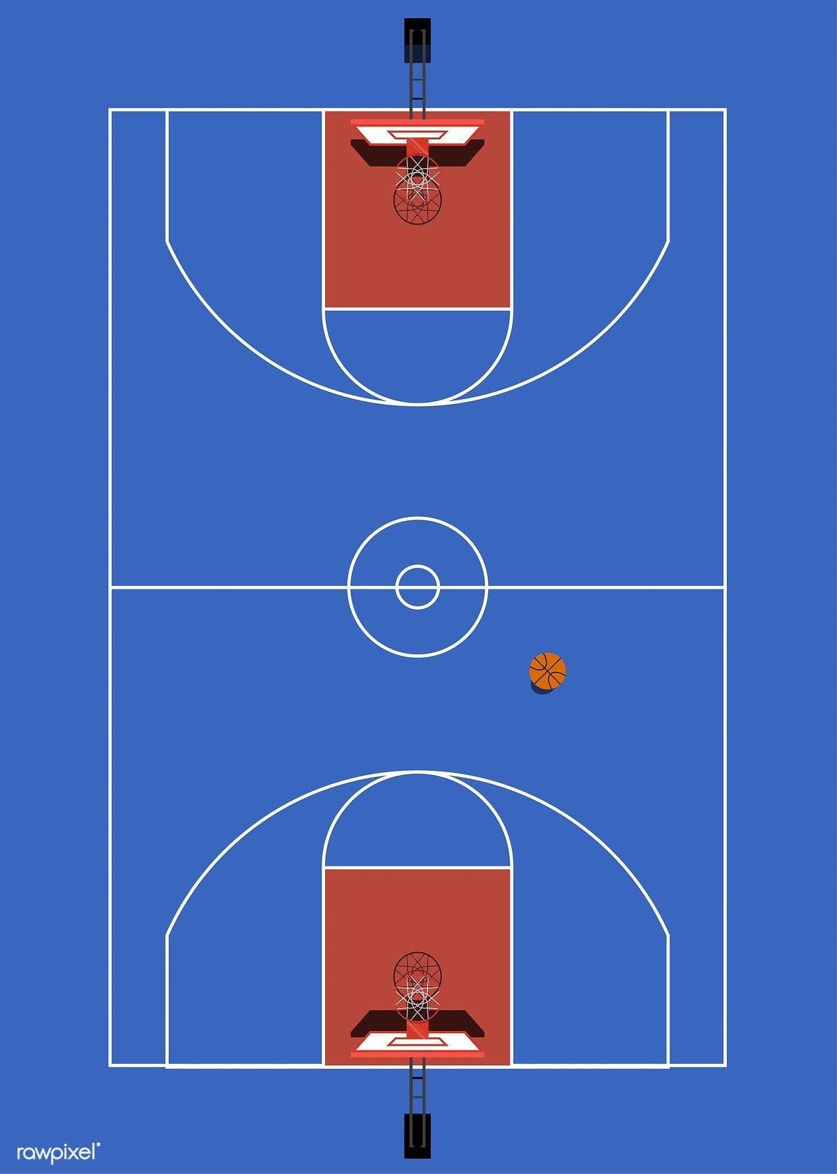 Aerial View Of A Basketball Court Free Image By Rawpixel Com Basketball Court Basketball Drawings Basketball