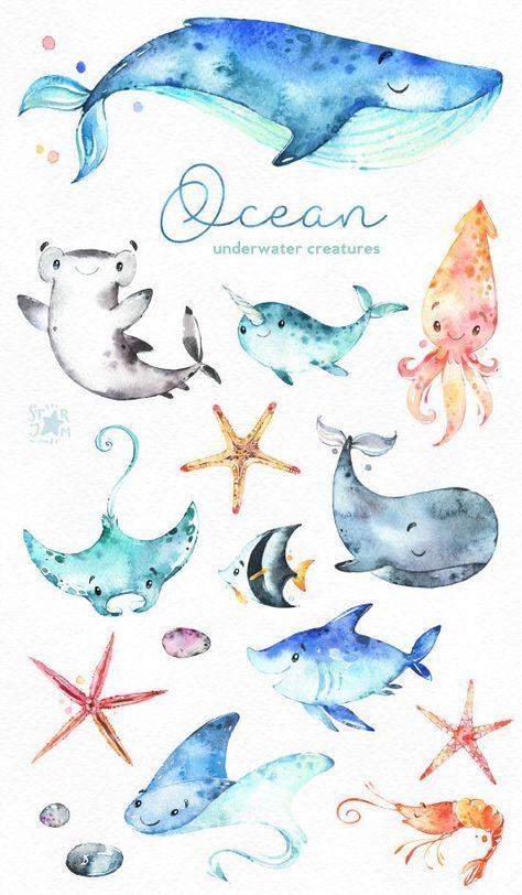 Ocean. Underwater creatures. Watercolor clip art, sharks, whale ...