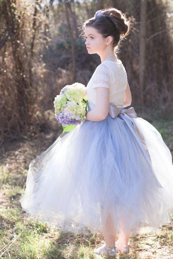31bec474d2d Dusty Blue Flower Girl Tulle Skirt Sewn by princessdoodlebeans ...