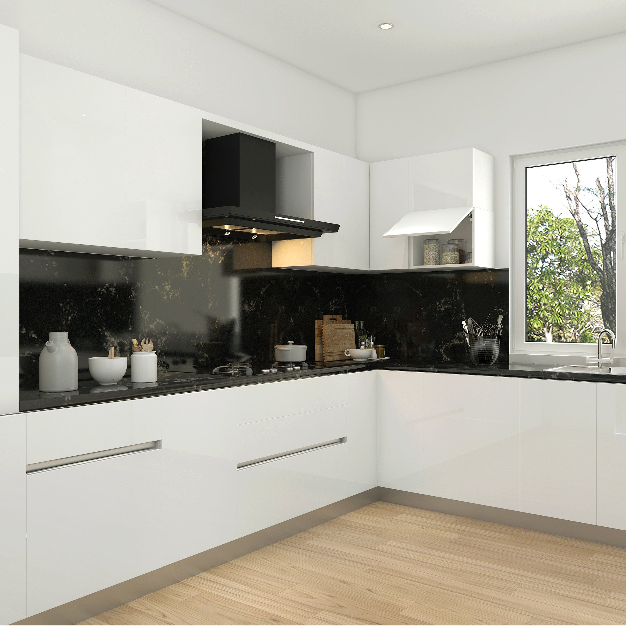 Gorgeous Black Backsplash In A Stylish Modular Kitchen Kitchen