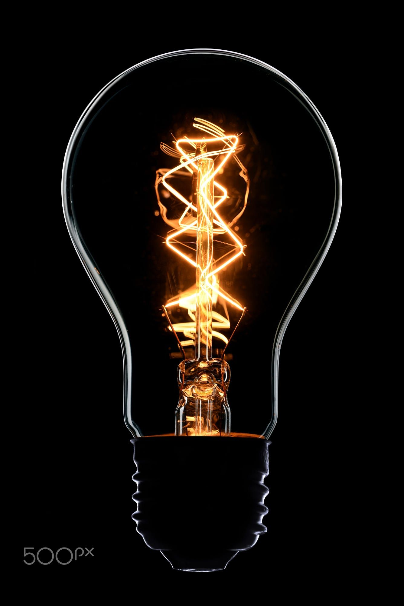 Vintage Light Bulb On Black Background