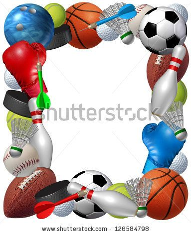 Sports Frame With Sport Equipment From Basketball Boxing Golf Bowling Tennis Badminton Football Soccer Darts Ice Hockey And Sports Frames Sports Sports Images