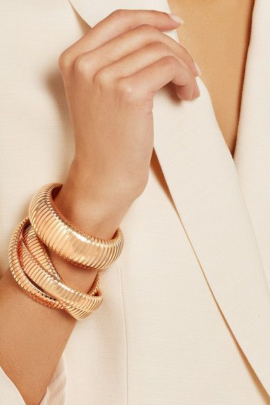 Sidney Garber Rolling 18 Karat Rose Gold Interlinked Bracelet Via