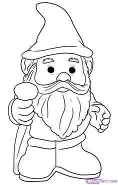 how to draw a gnome step by step stuff pop culture free - Garden Gnome Coloring Pages