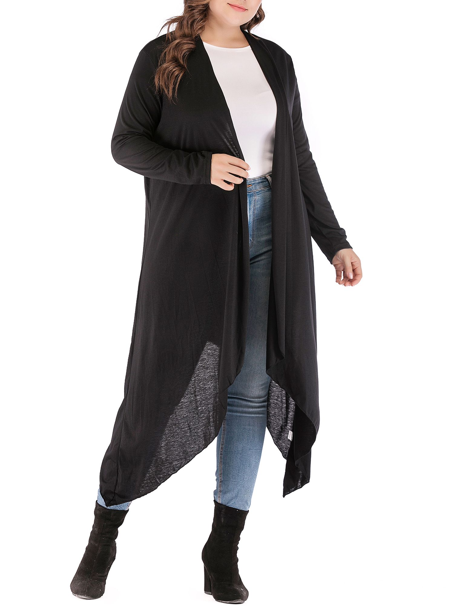 LELINTA Plus Size Cardigan Lightweight Sweaters for Women Long Asymmetrical Hem Cardigan Sweater Cover-up Black Kimono Cardigan Thin Tops | savingfashioncost.com 2