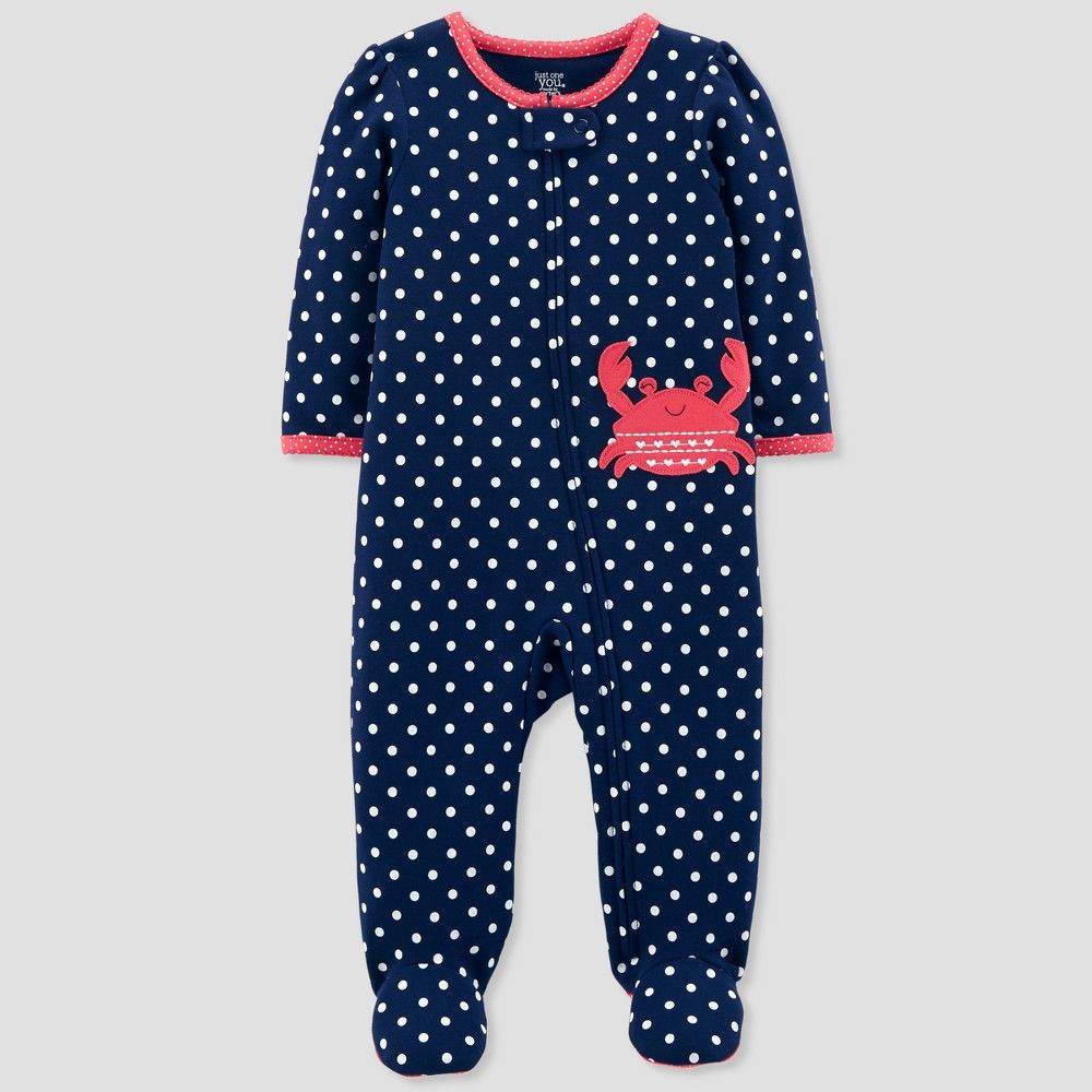b58c3a9df0da Keep your little one at ease while sleeping in this Crab Dot Cotton Sleep  N' Play from Just One You made by carter's. This soft cotton footed sleeper  will ...