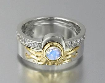 Sun Ring In Gold With Moonstone By Wingedlion On Etsy