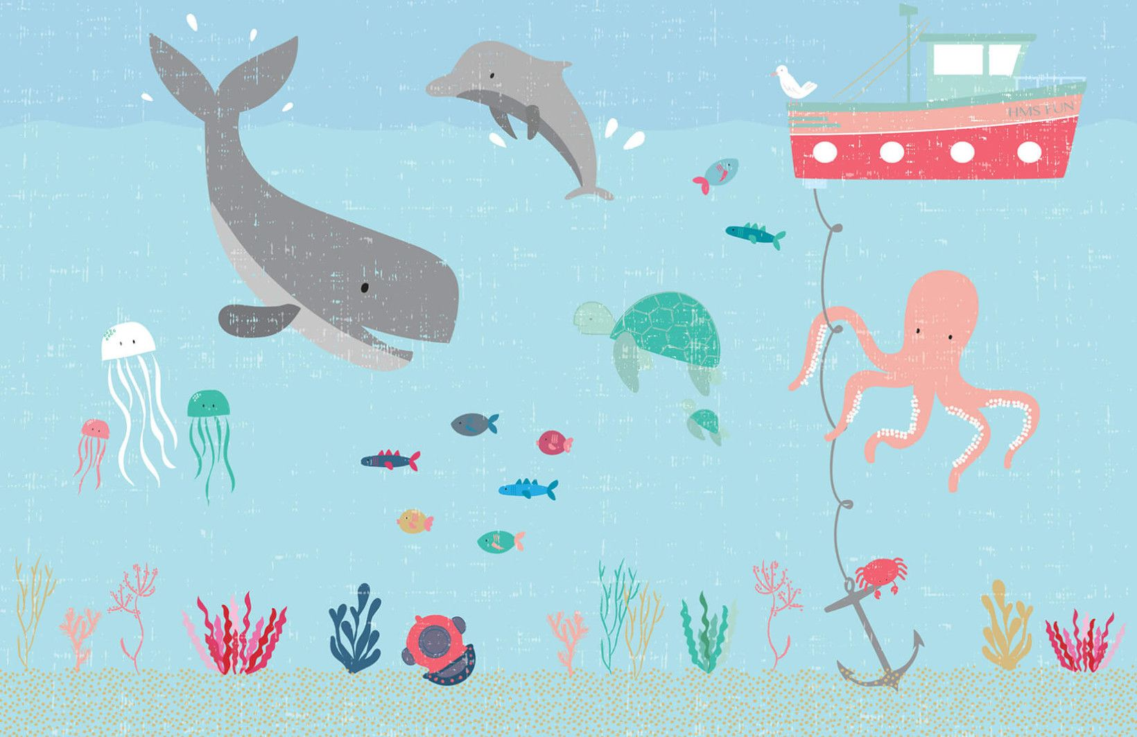 Kids Under the Sea Wallpaper Mural images