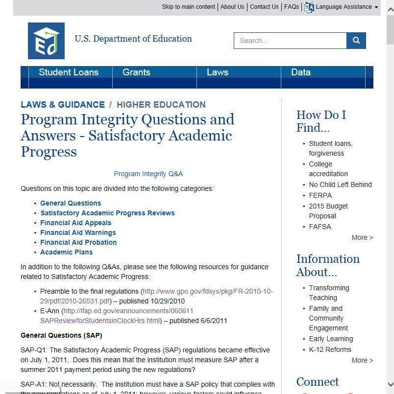 U.S. Department of Education Program Integrity Questions