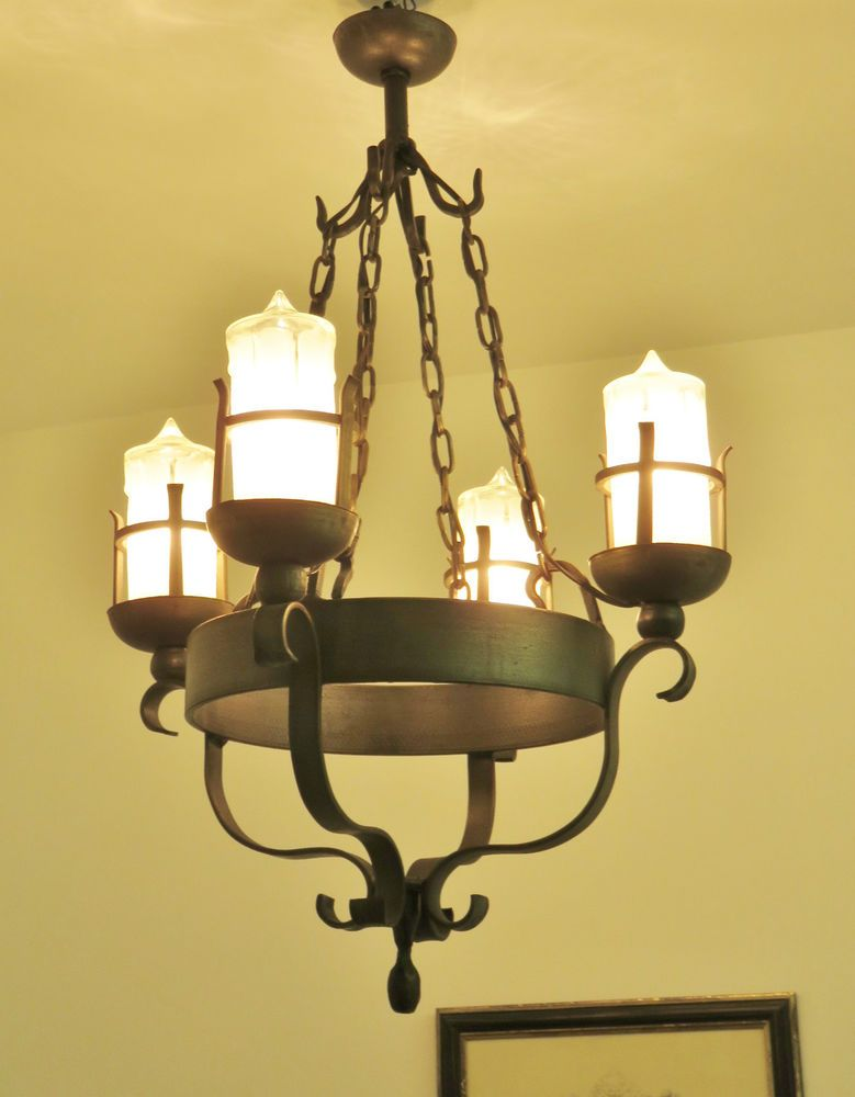 gorgeous vintage french wrought iron chandelier gothic light lamp glass candles - Wrought Iron Chandelier