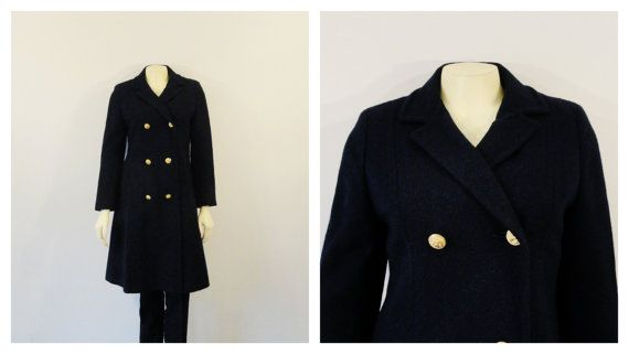 SALE Vintage Coat 50s 60s John Meyers Double Breasted Navy Blue Pea Coat  Mad Men Era Heavy Satin Lined Modern Size Extra Small to Small