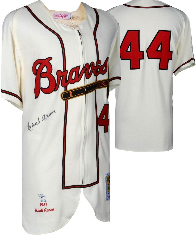 dbe3bdce Hank Aaron Milwaukee Braves Signed Mitchell and Ness 1963 Authentic Jersey  #sportsmemorabilia #autograph #jersey