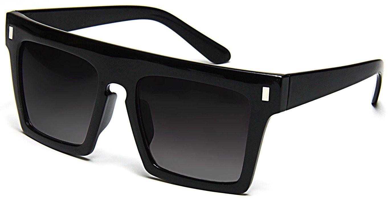 0ae8c7f8b3fe Tantino Flat Top Sunglasses Retro Designer Square Gradient Lens Black Frame