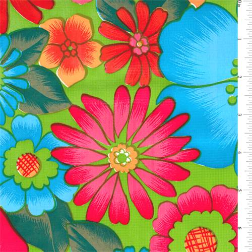 *1 1/4 YD PC--Lime Floral Oilcloth - OC103-C1   Discount By The Yard   Fashion Fabrics