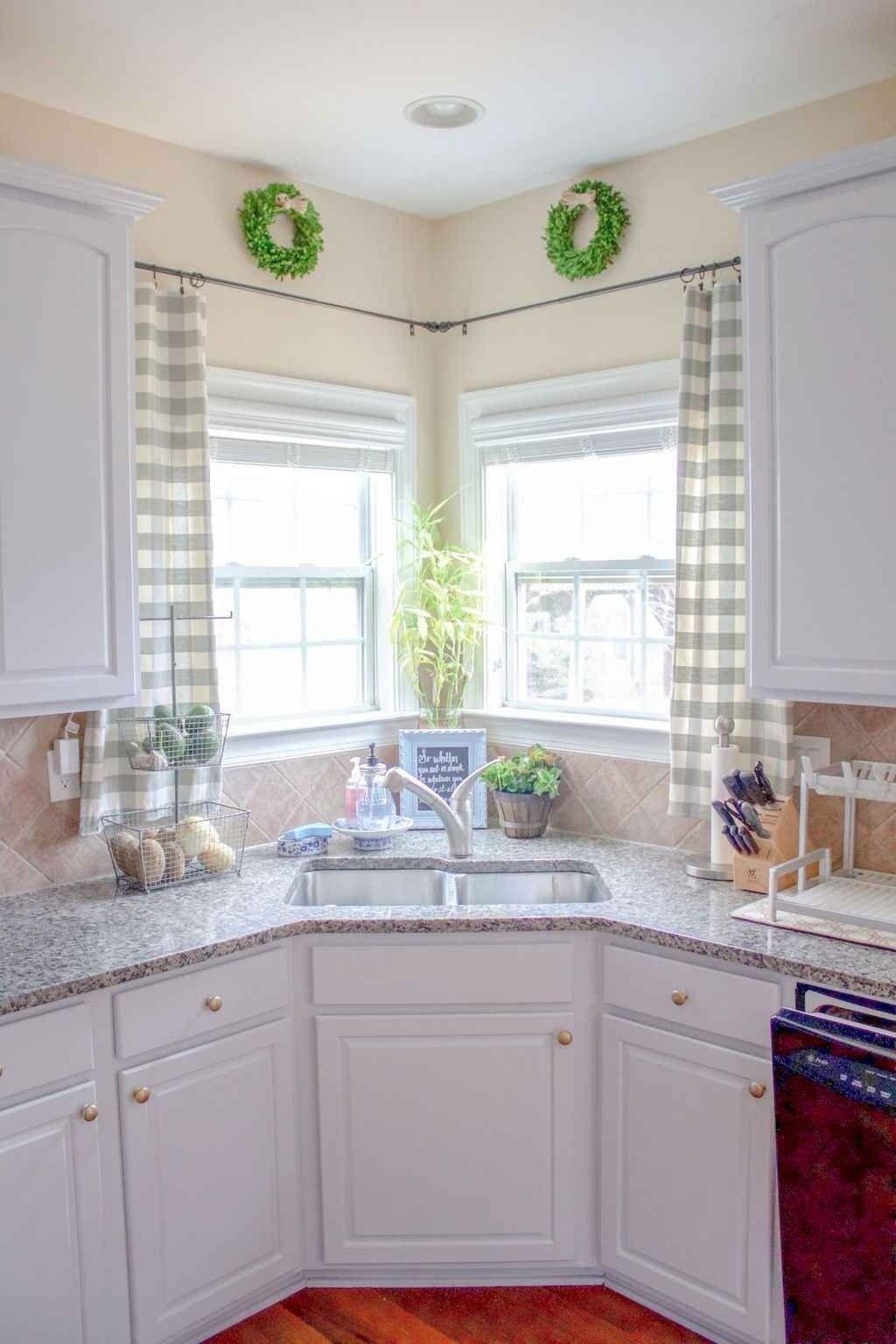 70 pretty farmhouse kitchen curtains decor ideas kitchen window treatments corner sink on farmhouse kitchen valance ideas id=98289