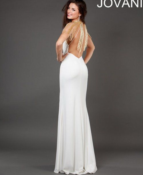 Long white prom dress 2014 by Jovani features beautiful beaded ...