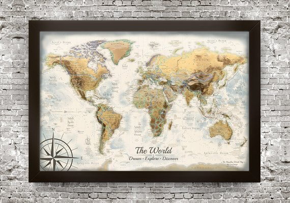 Large Framed Map Of The World.Large World Map Push Pin Travel Map 52x36 Inch Framed Map