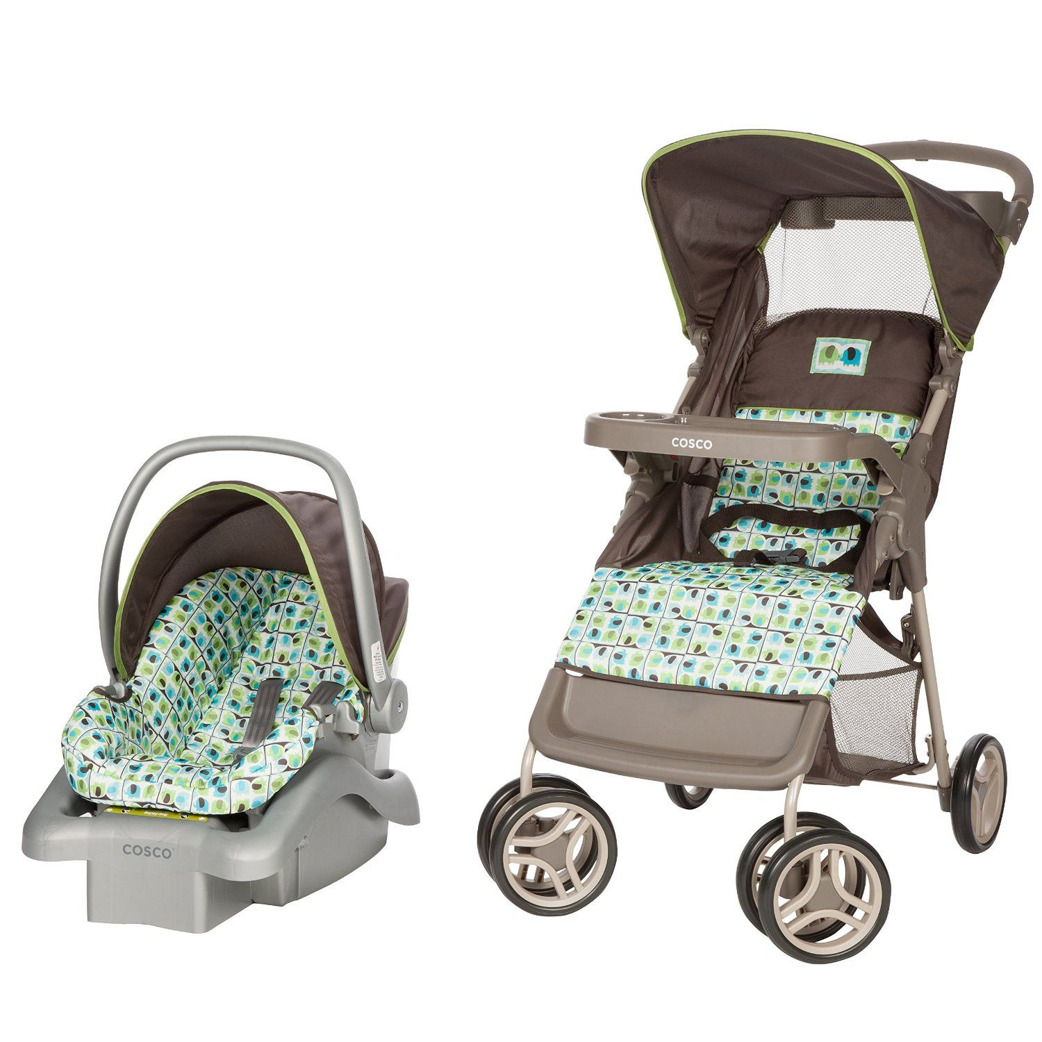 Cosco Lift & Stroll Travel System Elephant Squares TR336DFK
