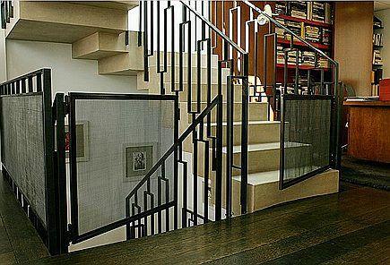 Custom Iron Mesh Panel Staircase Safety Gates Via Atticmag