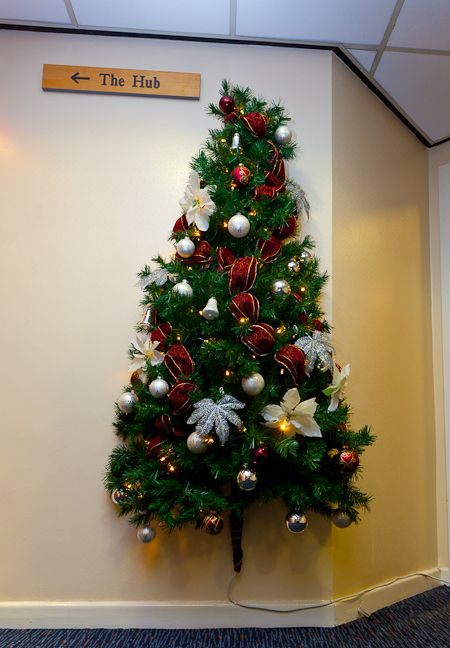 A half Christmas tree on a wall, its a space saver! Christmas tree