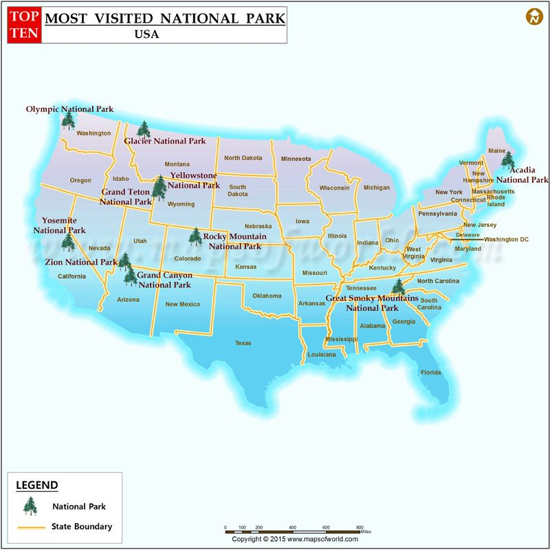 beautiful map showing ten most visited nationalparks in usa