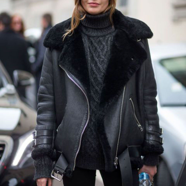 9bea7c2e5 fur bike jacket black leather aviator jacket shearling faux leather ...