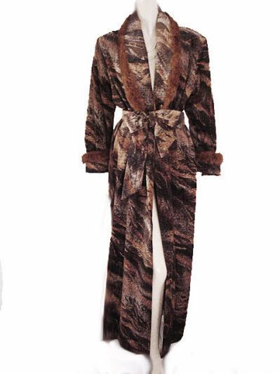 RARE & UNIQUE LUXURIOUS DIAMOND TEA ROBE SATIN LINED DRESSING GOWN ADORNED WITH LUXURIOUS FUR TRIM - SIZE SMALL / MEDIUM
