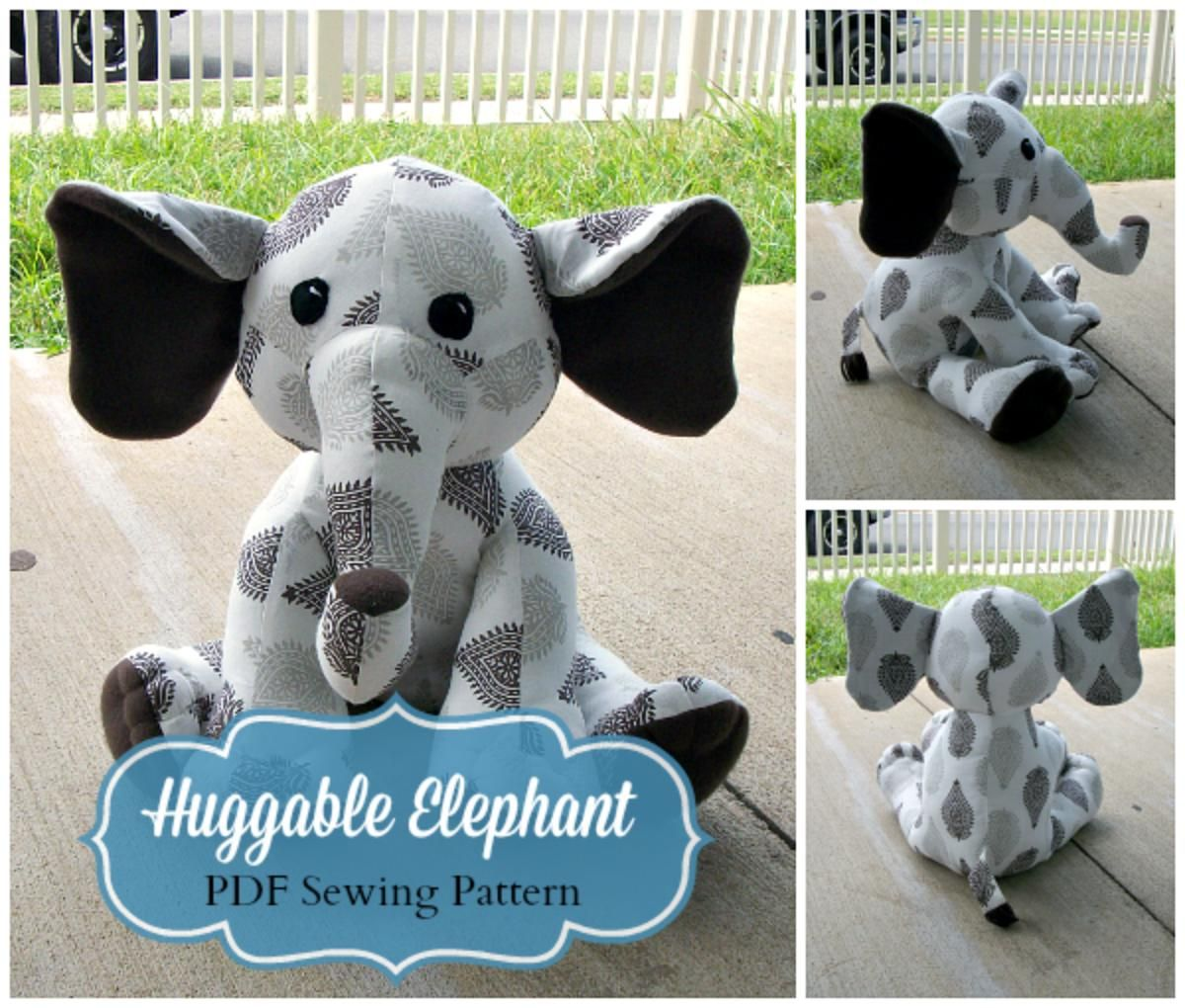 Huggable elephant sewing pattern plush sewing patterns and huggable elephant sewing pattern jeuxipadfo Gallery