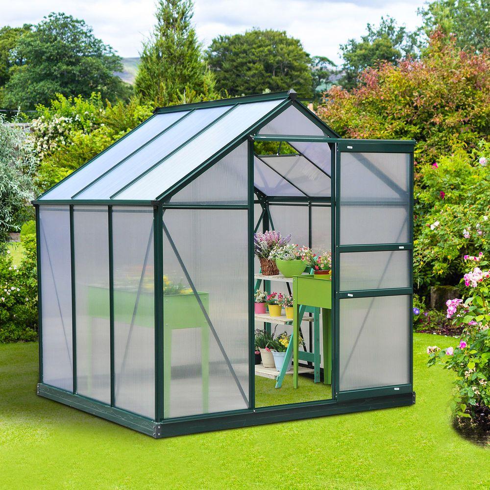 New home garden  Outsunny uxuxu Aluminum Frame Walk In Greenhouse Garden Plant