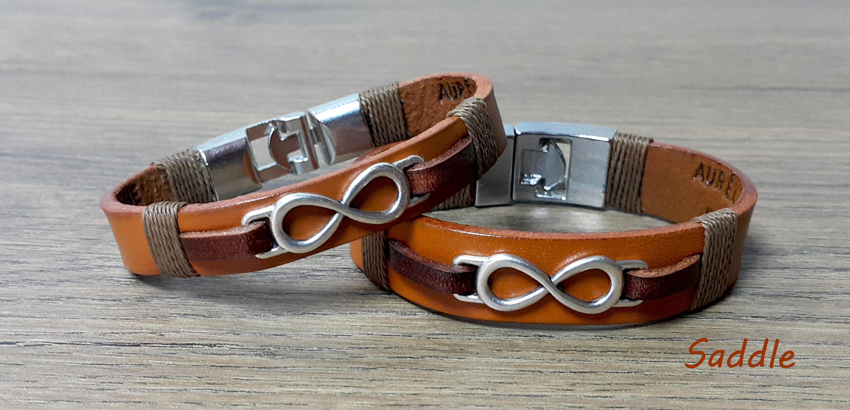 Couples Hidden Message Leather Bracelet Set Infinity Sign