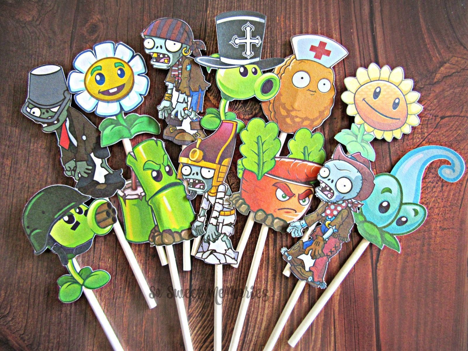 12 plants vs zombies cupcake and cake toppers birthday party supplies - Zombie Party Supplies
