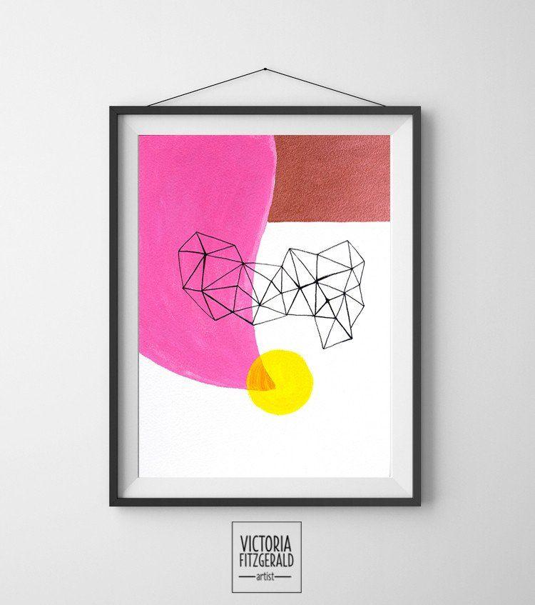 Hot Pink and Copper Abstract Geometric Art Print  www.vfitzartist.com.au