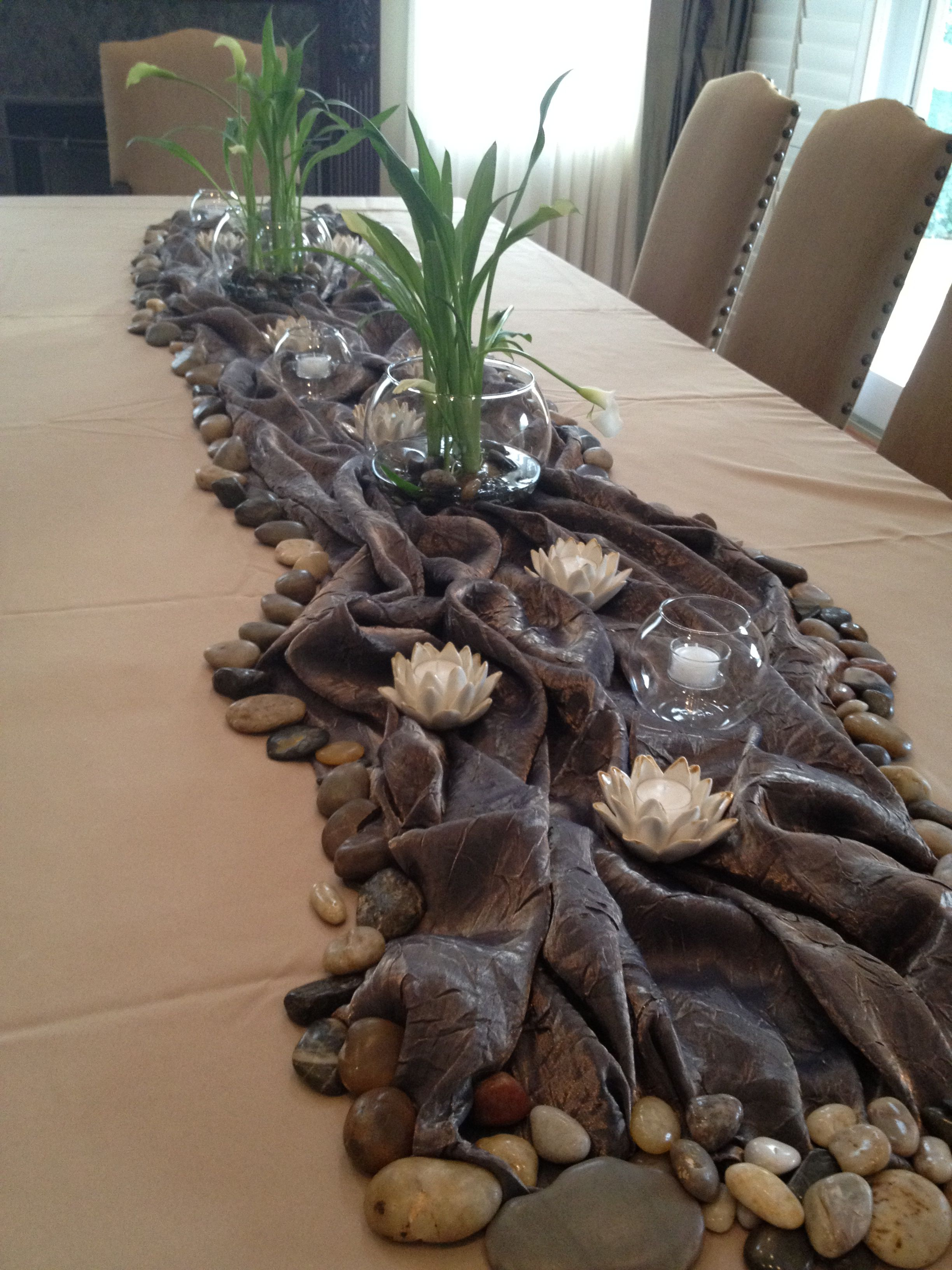 centerpiece stream river lake nature themed table
