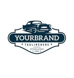 Classic car logo template vector
