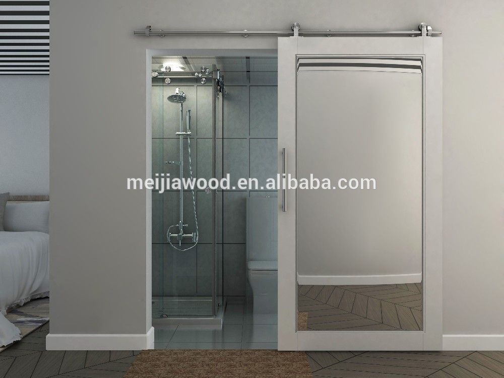 White Painted Mirrored Sliding Barn Door For Bathroom And Closet Folding Doors Interior Sliding Doors Interior Interior Sliding Barn Doors